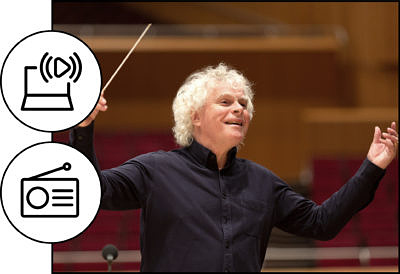 Sir Simon Rattle (C) Astrid Ackermann_Icons (C) heni astutik and unlimicon from Noun Project CC BY 3.0